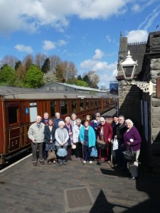 Newport VIP group members awaiting to board the steam train at Bridgnorth Station on the Severn Valley line in May 2018 on their summer outing.