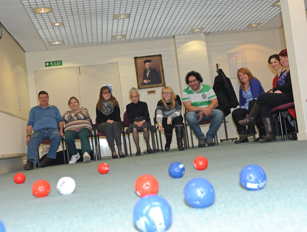 The group enjoying a game of boccia